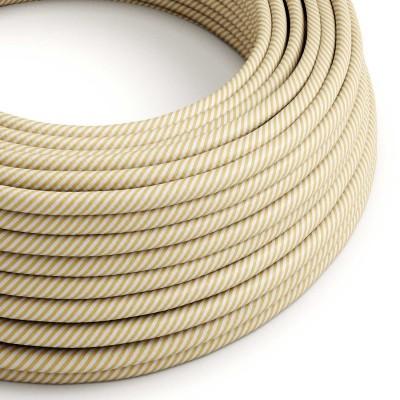 Okrogel električen kabel Vertigo HD prekrit s tekstilom kremne in rjave barve ERM53