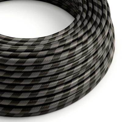 Okrogel električen kabel Vertigo HD prekrit s tekstilom kremne in črne barve ERM54
