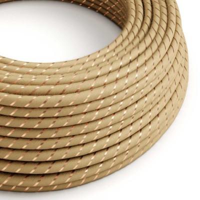 Okrogel električen kabel Vertigo prekrit z juto in bakrenim tekstilom ERR04