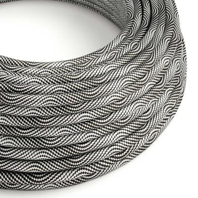 Okrogel električen kabel Vertigo prekirt z opečnato črnim in srebrnim tekstilom ERM64