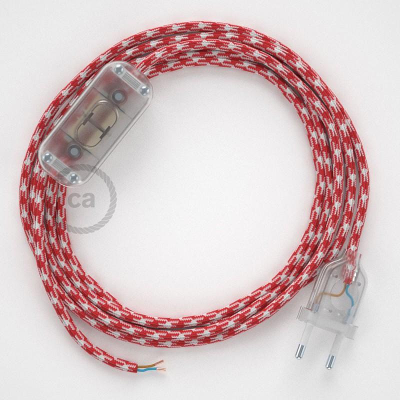 Komplet s stikalom, RP09 vzorčast rdeč rejon 1,80 m. Izberite barvo vtikača in stikala.