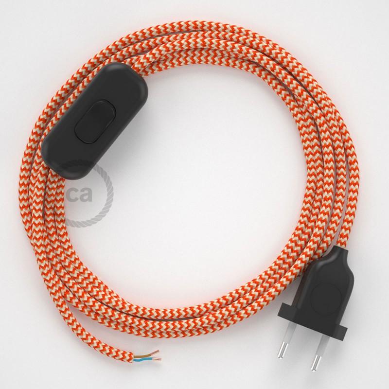 Komplet s stikalom, RZ15 zigzag oranžen rejon 1,80 m. Izberite barvo vtikača in stikala.