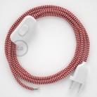 Komplet s stikalom, RZ09 zigzag rdeč rejon 1,80 m. Izberite barvo vtikača in stikala.