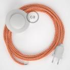 Komplet s talnim stikalom, RZ15 zigzag oranžen rejon 3 m. Izberite barvo vtikača in stikala.