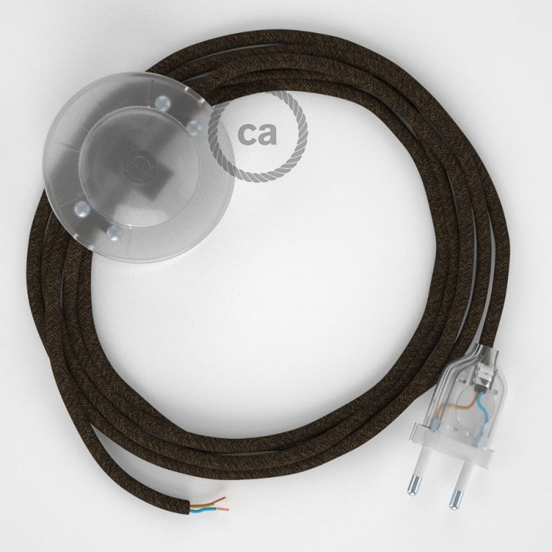 Komplet s talnim stikalom, RN04 rjav naraven lan 3 m. Izberite barvo vtikača in stikala.