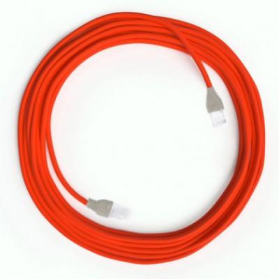 LAN - Eternetni tekstilni kabel RF15 Fluo oranžen z RJ45 vtičem, sestavljen