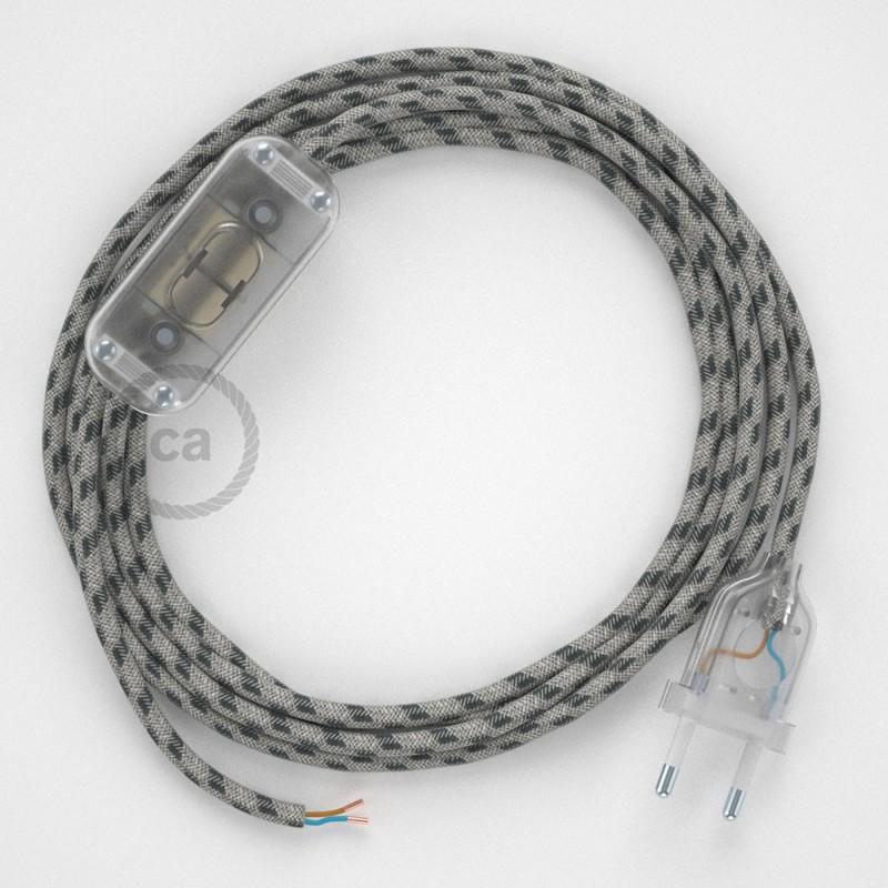 Komplet s stikalom, RD54 črte, antracit naravni lan in bombaž 1,80 m. Izberite barvo vtikača in stikala.