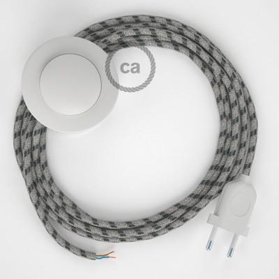 Komplet s talnim stikalom, RD54 črte, antracit naravni lan in bombaž 3 m. Izberite barvo vtikača in stikala.