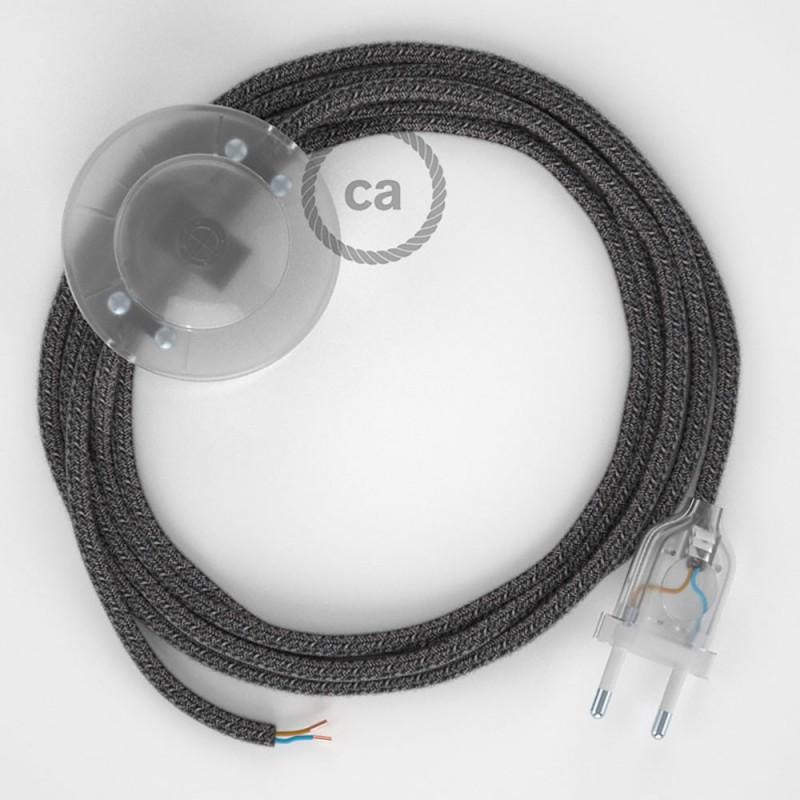 Komplet s talnim stikalom, RS81 črn naravni lan in bombaž 3 m. Izberite barvo vtikača in stikala.