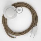 Komplet s talnim stikalom, RS82 rjav naravni lan in bombaž 3 m. Izberite barvo vtikača in stikala.