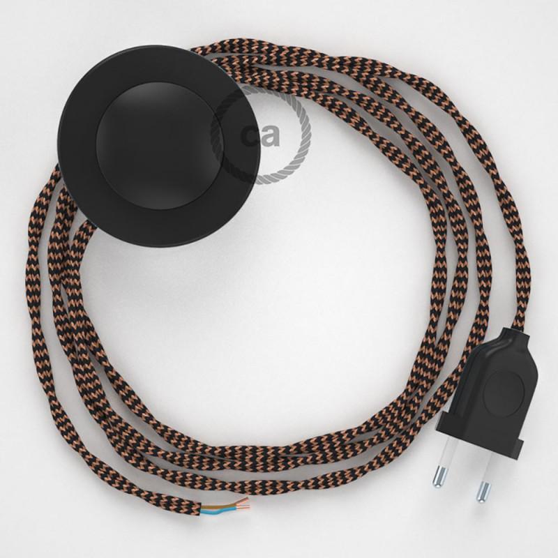 Komplet s talnim stikalom, TZ22 črni Whiskey rejon 3 m. Izberite barvo vtikača in stikala.