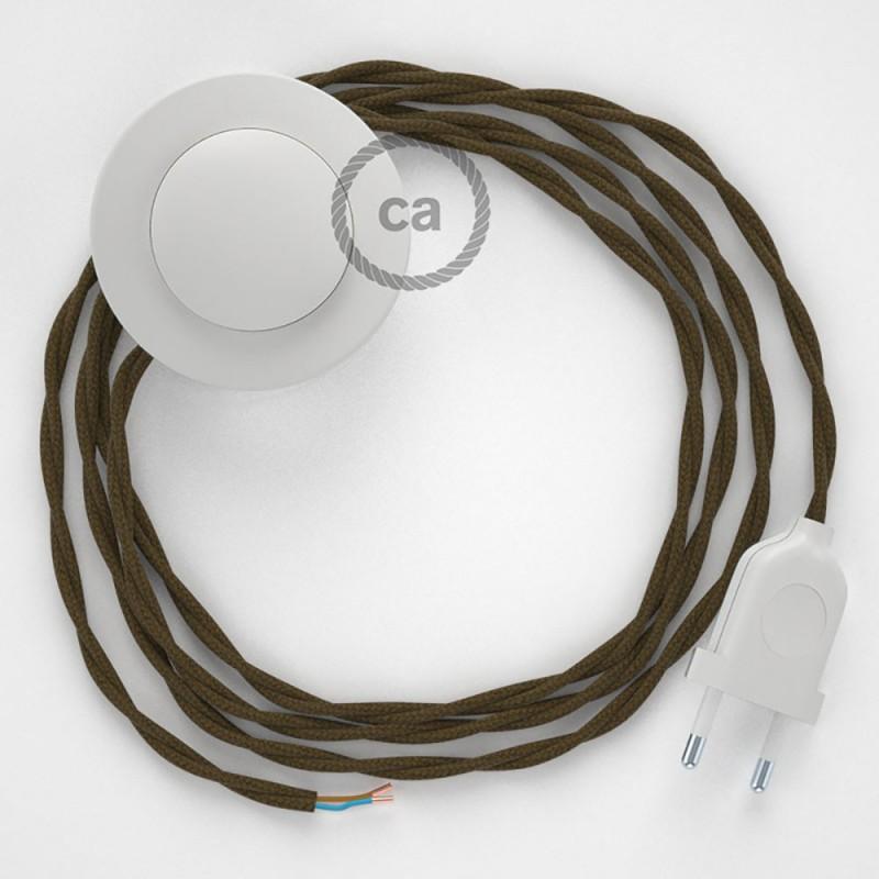 Komplet s talnim stikalom, TC13 rjav bombaž 3 m. Izberite barvo vtikača in stikala.