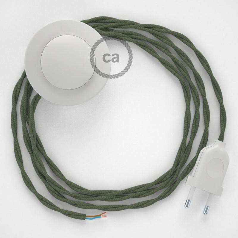 Komplet s talnim stikalom, TC63 sivo-zelen bombaž 3 m. Izberite barvo vtikača in stikala.