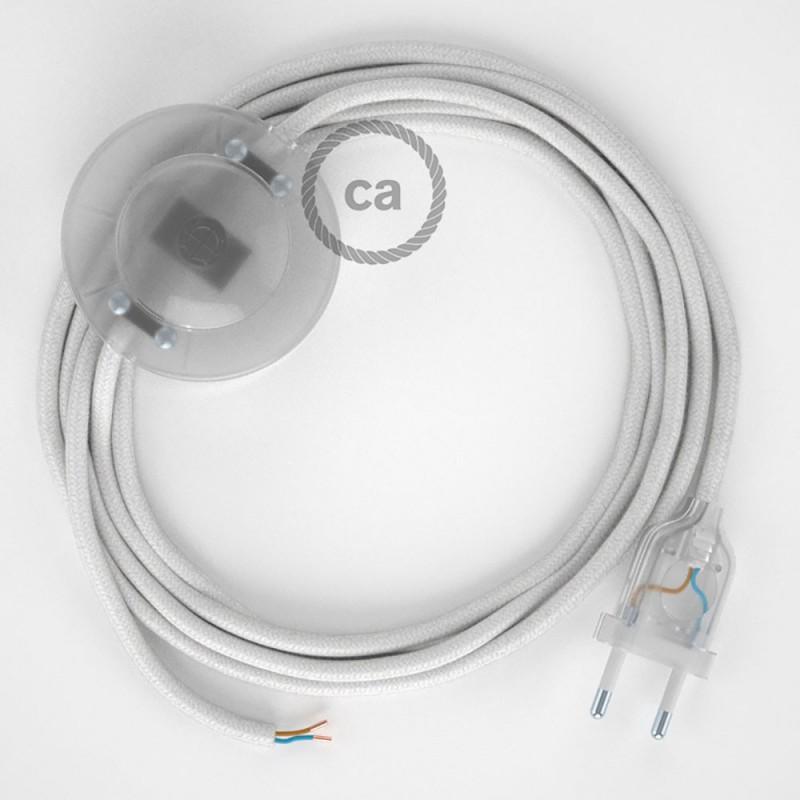 Komplet s talnim stikalom, RC01 bel bombaž 3 m. Izberite barvo vtikača in stikala.