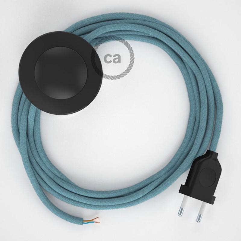Komplet s talnim stikalom, RC53 svetlo moder Ocean bombaž 3 m. Izberite barvo vtikača in stikala.