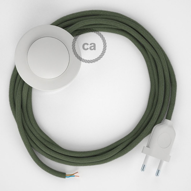 Komplet s talnim stikalom, RC63 sivo-zelen bombaž 3 m. Izberite barvo vtikača in stikala.