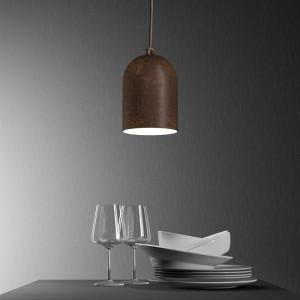 Viseče svetilo s tekstilnim kablom in keramičnim senčilom Mini Zvonec XS- Izdelano v Italiji