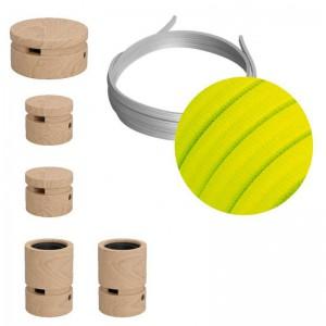 Filé sistem komplet za izdelavo verige luči, 3m kabla in 5 lesenih komponent, gibljivi
