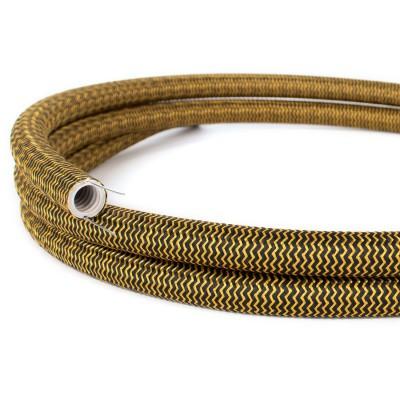 Creative-Tube prilagodljiva cev za kable, Rayon ZigZag zlat in črn RZ24 prevlečen s tekstilom, premer 20 mm