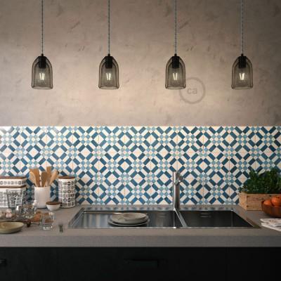 Viseče svetilo s tekstilnim kablom in Ghostbell kletko - Izdelano v Italiji