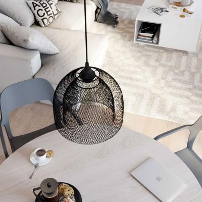 Viseče svetilo s tekstilnim kablom in Ghostbell XL kletko - Izdelano v Italiji