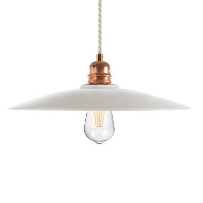Viseče svetilo s tekstilnim kablom in senčilom v obliki krožnika - Izdelano v Italiji