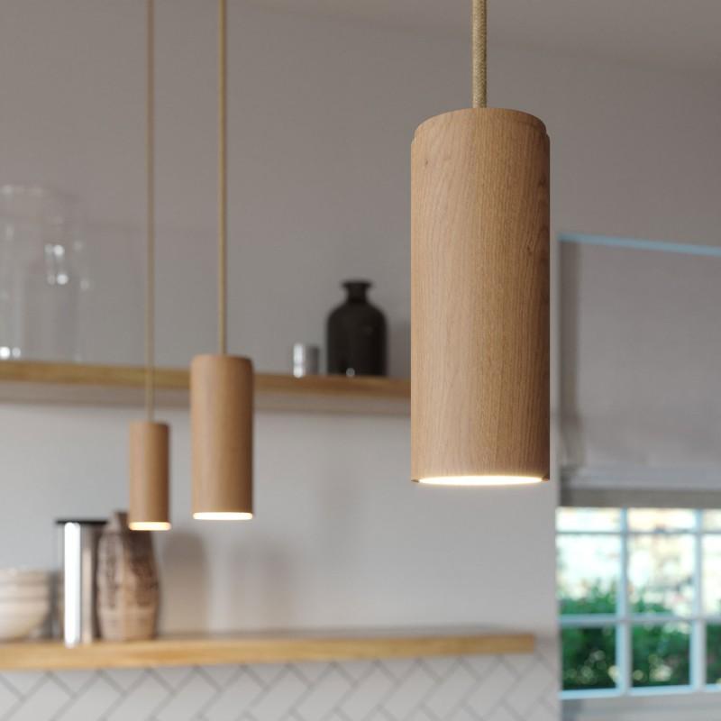 Viseče svetilo s tekstilnim kablom in lesenim senčilom Tub-E14