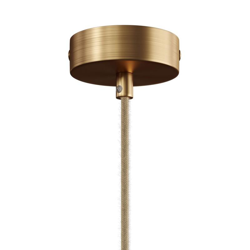 Viseče svetilo s tesktilnim kablom, lesenim in kovinskim dvojnim senčilom Tub-E14