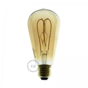 LED zlata žarnica - Edison ST64 dvojna pentljasta nit - 5W E27 zatemna 2000K