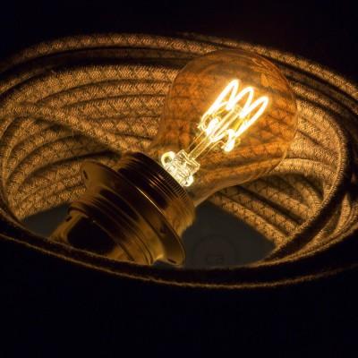 LED zlata žarnica - Drop A60 spiralna nit - 3W E27 zatemna 2000K