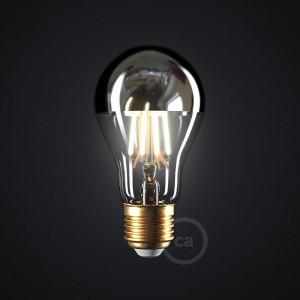 LED žarnica srebrna polkrožna A60 7W E27 2700K zatemna