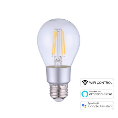 LED SMART Wifi žarnica A60 Drop z ravnimi nitkami 6W E27 2700K zatemnilna