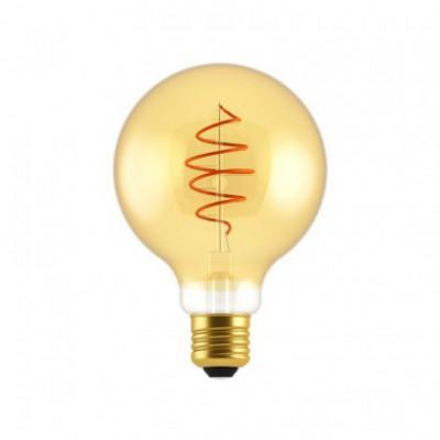 LED žarnica Globe G95 Golden Croissant s spiralno nitko 5W E27 zatemnilna 2000K